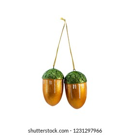 Hanging christmas bauble, acorns, isolated on white background