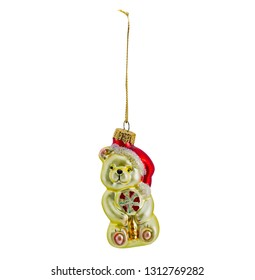 Hanging christmas bauble, bear, isolated on white background