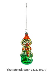 Hanging christmas bauble, clown, old soviet, USSR, isolated on white background
