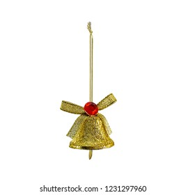 Hanging christmas bauble, golden bell, isolated on white background