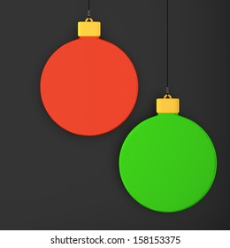 Hanging Christmas decorations on dark background. 3d illustration