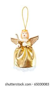 hanging Christmas gold Angel isolated on white background