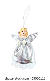 hanging Christmas silver Angel isolated on white background