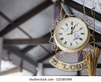 hanging clock in resort