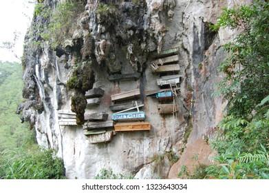 HANGING COFFINS/SAGADA/PHILIPPINES-MAY 2012: Coffins are hanging in Sagada cliffs