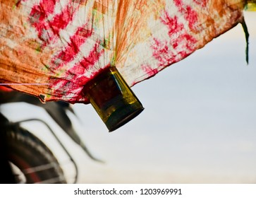 Hanging colourful clothes with metallic object unique photo