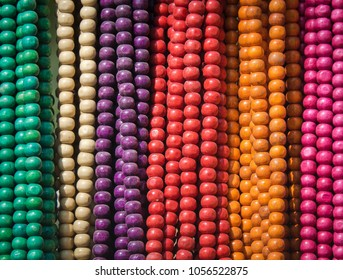 Hanging Colourful Wooden Beads Necklaces By Street Vendor In Bodhgaya , India