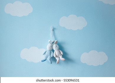 Hanging couple of lovers rabbits toys