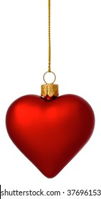 Hanging crimson Christmas Heart bauble on gold thread isolated on white