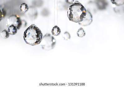 Hanging crystal balls, studio shot