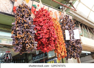 Hanging Dried Vegetables at a Turkish shop in Gazientep