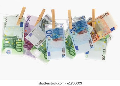 Hanging European notes, representing the power of being able to spend money.