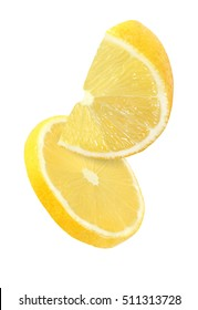 hanging, falling and flying piece of lemon fruits isolated on white background with clipping path