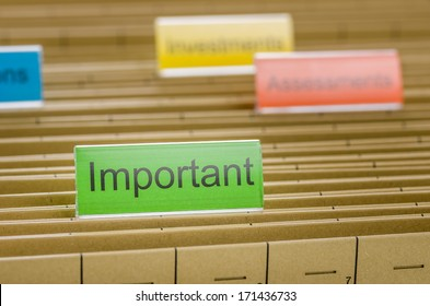 Hanging file folder labeled with Important