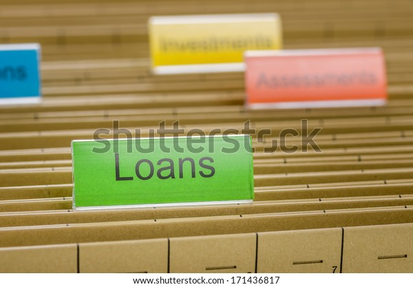 Hanging file folder labeled with Loans