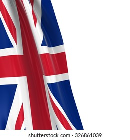 Hanging Flag of the United Kingdom - 3D Render of the Union Jack Flag Draped over white background with copyspace for text