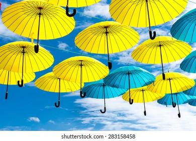 Hanging flag-colored umbrellas show at Kyiv day. Kyiv, Ukraine.