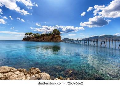 Hanging footbridge in Laganas to Cameo island, Zante, Greece