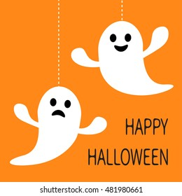 Hanging Ghost Dash Line Smiling And Sad Face. Happy Halloween. Greeting  Card. Cute