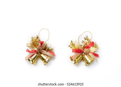 Hanging Gold Bells With Red and gold Ribbon Bow Isolated on White Background.