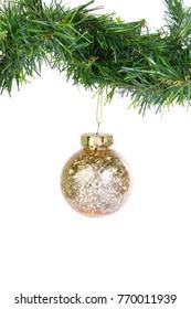 Hanging Golden Christmas Balls on flir branches on white background