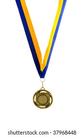 Hanging golden medal isolated on white background
