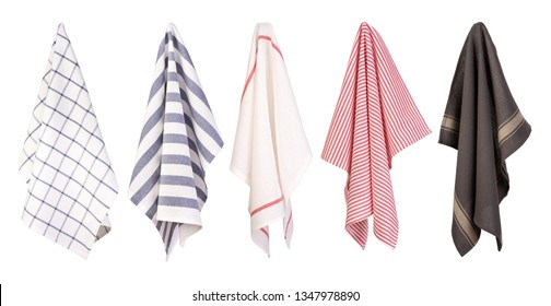 Hanging kitchen towels isolated on white background