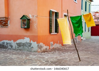 Hanging laundry outside the house in Venice.