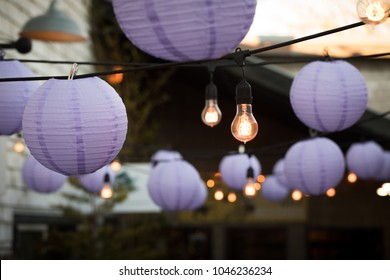 Hanging LED light strand, with a background of purple Chinese paper lanterns