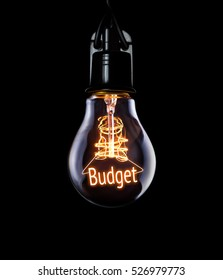 Hanging lightbulb with glowing Budget concept.