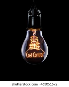 Hanging lightbulb with glowing Cost Control concept.