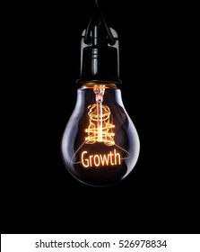 Hanging lightbulb with glowing Growth concept.