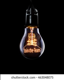 Hanging lightbulb with glowing Join The Team concept.