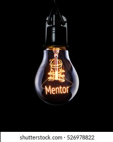 Hanging lightbulb with glowing Mentor concept.