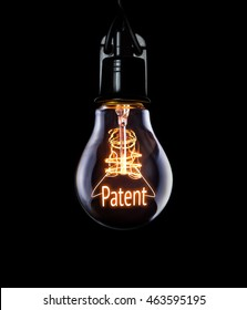 Hanging lightbulb with glowing Patent concept.