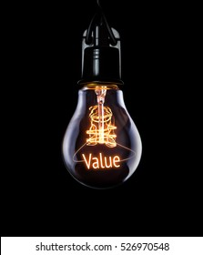 Hanging lightbulb with glowing Value concept.