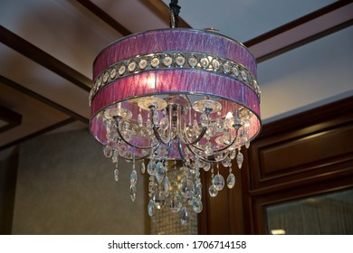 Hanging Lights with Creme Fabric Shade. Modern 3-Light Led pink Chandelier. Pendant Sconce Lighting Lamp . Ceiling Light Oval Pendant Light Fixture.