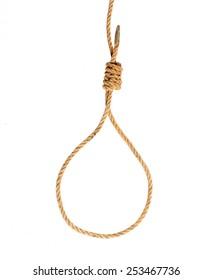 Hanging noose of hemp rope on white background.