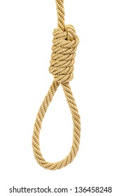 Hanging noose rope, isolated on white