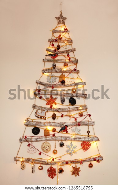 Hanging On Wall Alternative Wooden Christmas Stock Photo
