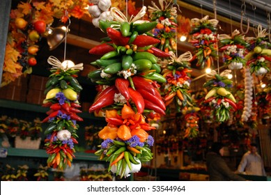 Hanging Peppers at the Seattle Fish Market in Seattle, Washington