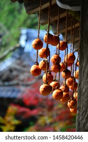 It is a hanging persimmon which is dried under the eaves of a Japanese house. It becomes the dried fruit of the persimmon.