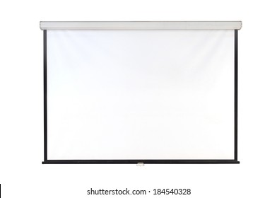 The hanging projection screen isolated on white