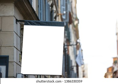 Hanging rectangular blank flag on the street in the city - Image