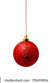 Hanging red christmas ball isolated on a white background