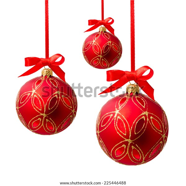 Hanging red christmas balls isolated on a white background