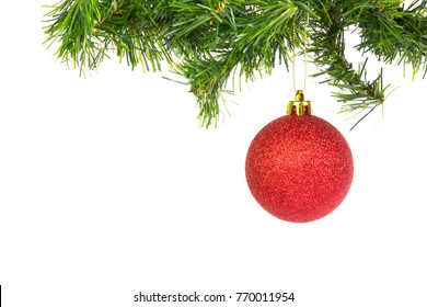 Hanging Red Christmas Balls on flir branches on white background