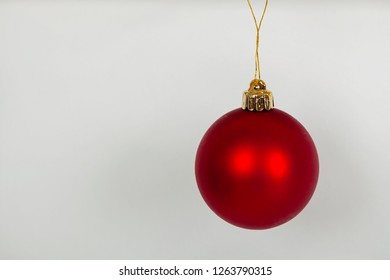 Hanging red Christmas bauble