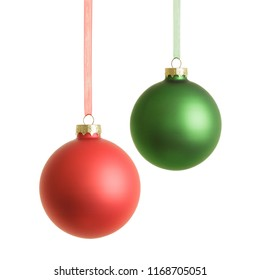 hanging red and green christmas baubles isolated on white background
