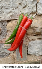 Hanging red and green peperoncini